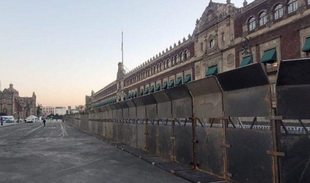 Por primera vez en la historia, Palacio Nacional luce blindado con murallas de acero